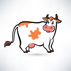 happy cow portrait, outlined vector symbol