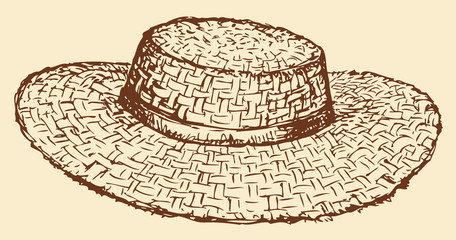 Vector monochrome line drawing of a straw hat