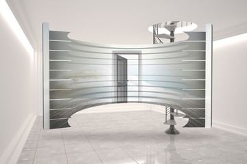 Composite image of open door in clouds on abstract screen