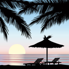 Sunrise view in beach with palm tree. Summer holiday icon set
