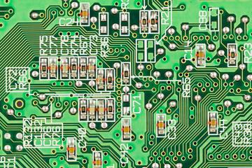Spoed Fotobehang Op straat Printed circuit board conductors and resistors.