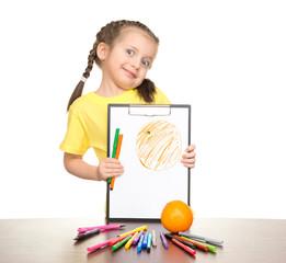 girl drawing orange on clipboard