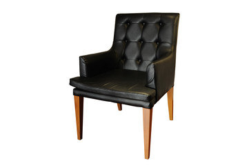 Black leather armchair isolated, clipping path