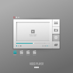 Vector video player template design