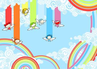Rainbow fairies high in the sky