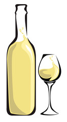 White wine bottle with glass