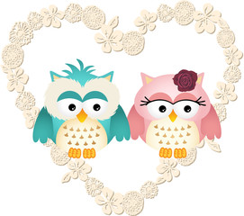 Couple owls in heart