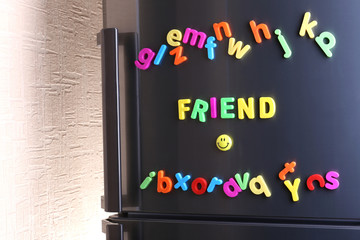 Word Friend spelled out using colorful magnetic letters