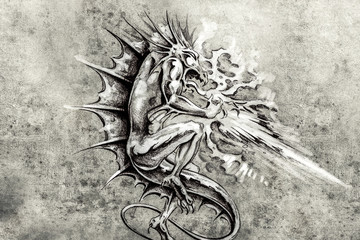 Tattoo art, sketch of a dragon burning