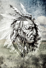 Wall Mural - Sketch of tattoo art, indian head over cropfield background