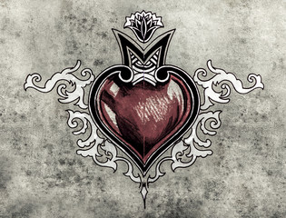 Wall Mural - Valentine Day. Sketch of tattoo art, tribal design, heart