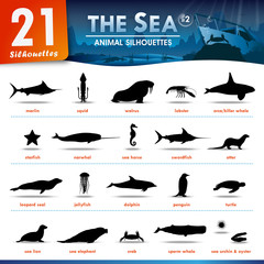 21 Sea animal silhouettes  #2