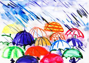 umbrellas under rain