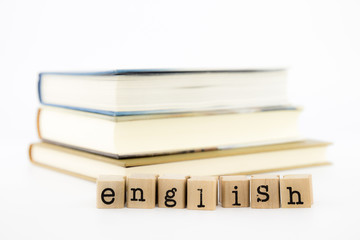 english wording stack on books