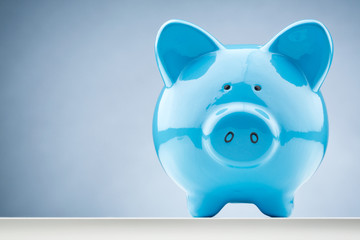 Front View of a Blue Piggy Bank