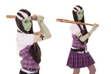 model in Frankenstein costume with baseball bat