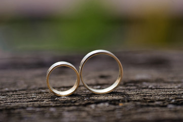 Rings on Wooden Surface