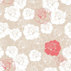 Seamless vector floral red white roses background