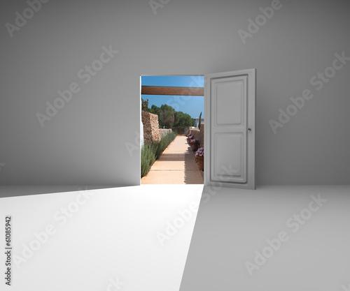 Porta stanza muro chiave successo apertura natura stock - Apertura porta in muro portante ...