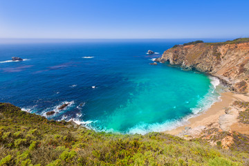 California  beach in Big Sur in Monterey County Route 1