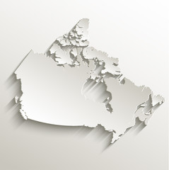 Canada map card paper 3D natural vector