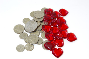 coins and plastic hearts