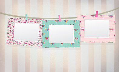 Vector  colorful  empty photo frames on vintage background.