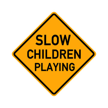 traffic sign - slow children playing - e501