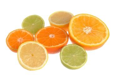 Seven halves of orange, minneola, mandarin, lime and lemon isola