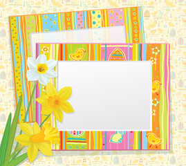 Vector Easter card, empty photo frames with daffodils.
