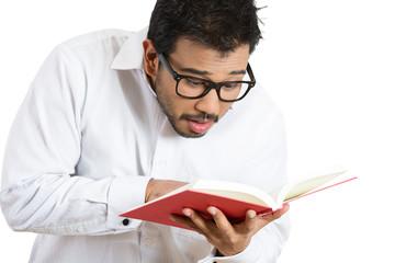 Man reading, surprised
