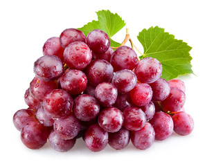 Fototapete - Ripe red grapes with leaves isolated