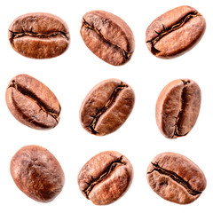Stores à enrouleur Café en grains Coffee beans isolated on white. Collection