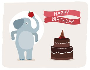 Cute happy birthday, gift card with elephant
