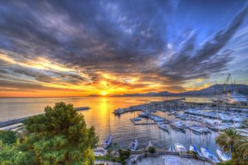 Zelfklevend Fotobehang Palermo Sunrise at Palermo Harbour
