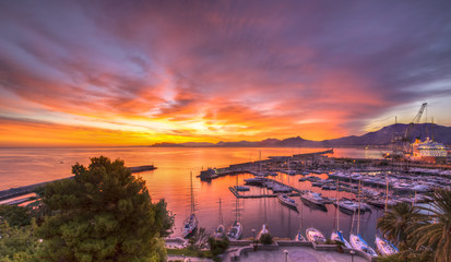 Wall Murals Palermo Sunrise at Palermo Harbour