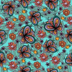 Seamless texture with butterflies.Vector pattern