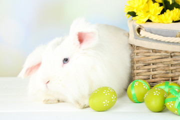 White cute rabbit and Easter composition