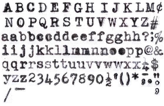 American Typewriter aplphabet on white