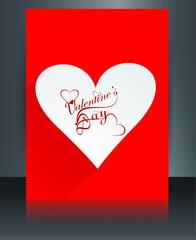 Valentine's day brochure background template design vector illus
