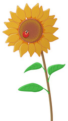 Sunflower with a ladybug isolated. Vector illustration