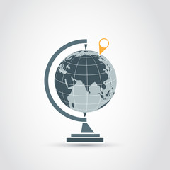 Globe map with pointer