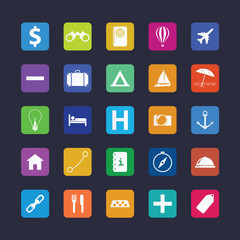 Flat travel icon set