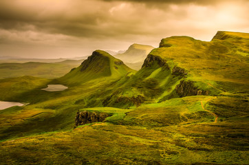 Scenic view of Quiraing mountains sunset with dramatic sky, Scot Wall mural