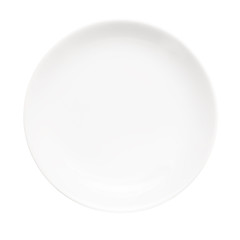 White empty plate isolated on white background.