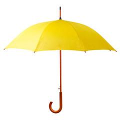 Yellow umbrella isolated on white background