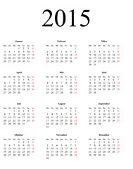 Calendar for 2015 on white background - vector