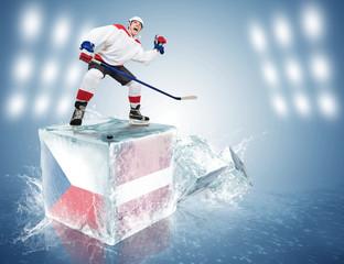 Czech Republic - Latvia game. Spunky hockey player on ice cube