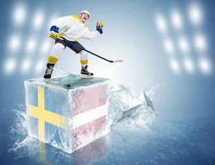 Sweden - Latvia game. Spunky hockey player on ice cube