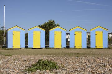 Beach huts at Littlehampton. England